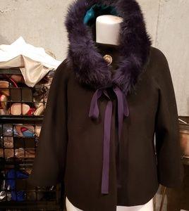 Tahari Black & Navy Jacket w/removable collar